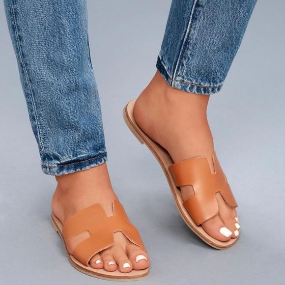 b17991e20c8 Greece cognac leather slide sandals. M 5b32a10e409c1525249cc381. Other Shoes  ...